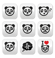 Panda bear buttons set - happy sad angry isolate vector