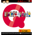 Letter q with queue cartoon vector