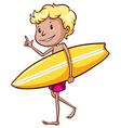 Boy surfing vector
