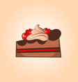 Piece of chocolate cake with cherry and cream vector