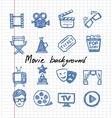 Blue movie icon set vector