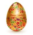 Golden egg with flowers vector