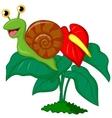 Cute snail cartoon on leaf vector