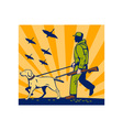 Hunter with rifle walking trained hunting gun dog vector
