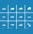 Cars and transport icons on blue background vector