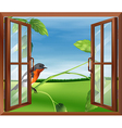 An open window with a view of the bird outside vector
