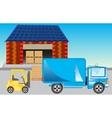 Loading of goods on storehouse vector