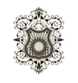 Ornate shield label design template vector