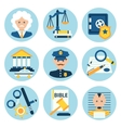 Law justice police icons vector