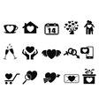 Black love valentine day icons set vector