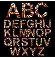 Striped alphabet set vector