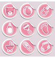 Pink baby shower stickers vector