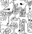 Sketch seamless pattern of cocktails vector