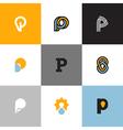 Set of letter p logo templates vector