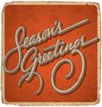 Hand-lettered vintage seasons greetings card vector
