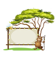 A beaver with a stick near a blank signage vector