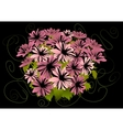 Abstract pink asters with dark background vector