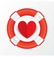 Red paper heart in lifebuoy valentines day card vector