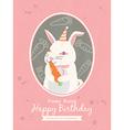 Cute rabbit animal cartoon birthday card design vector