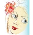 Portrait sketch girl with flower vector
