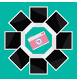 Instant photo circle with camera camera in flat vector