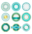 Set of badges labels and stickers in turquoise vector