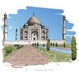 Taj mahal drawing vector
