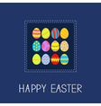 Colored easter egg set dash line frame card flat vector