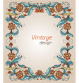 Vintage frame with decorative flowers vector
