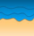 Summertime beach background paper cut style vector