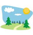 Trees at sunny blue sky day vector