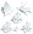 Paper christmas tree snowflakes and deer vector
