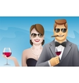 Elegance smiling man and woman with glasses of vector