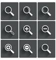 Zoom icons search symbols magnifier glass signs vector
