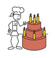 Stick figure female cake vector