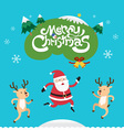 Merry christmas with santa claus and reindeer vector