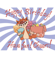 Cat and gift boxes birthday cartoon vector