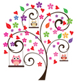 Tree floral owl 3 vector