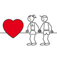 Stick figures couple in love vector