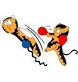 Cartoon tiger cub cute young martial arts vector