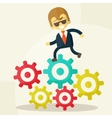 Businessman goes to success and gears vector