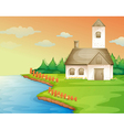 House on the bank vector