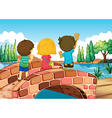 Children at the bridge vector
