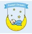 Baby boy sleeping on the moon vector