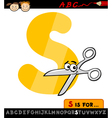 Letter s with scissors cartoon vector