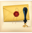 Brown envelope and rad wax with wax seal stamp vector