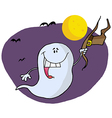 Halloween ghost holding his hat and flying by bats vector