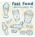 Fastfood delicious hand drawn set vector