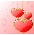 Volume hearts with gold ribbon vector