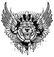 Tiger head and wings vector